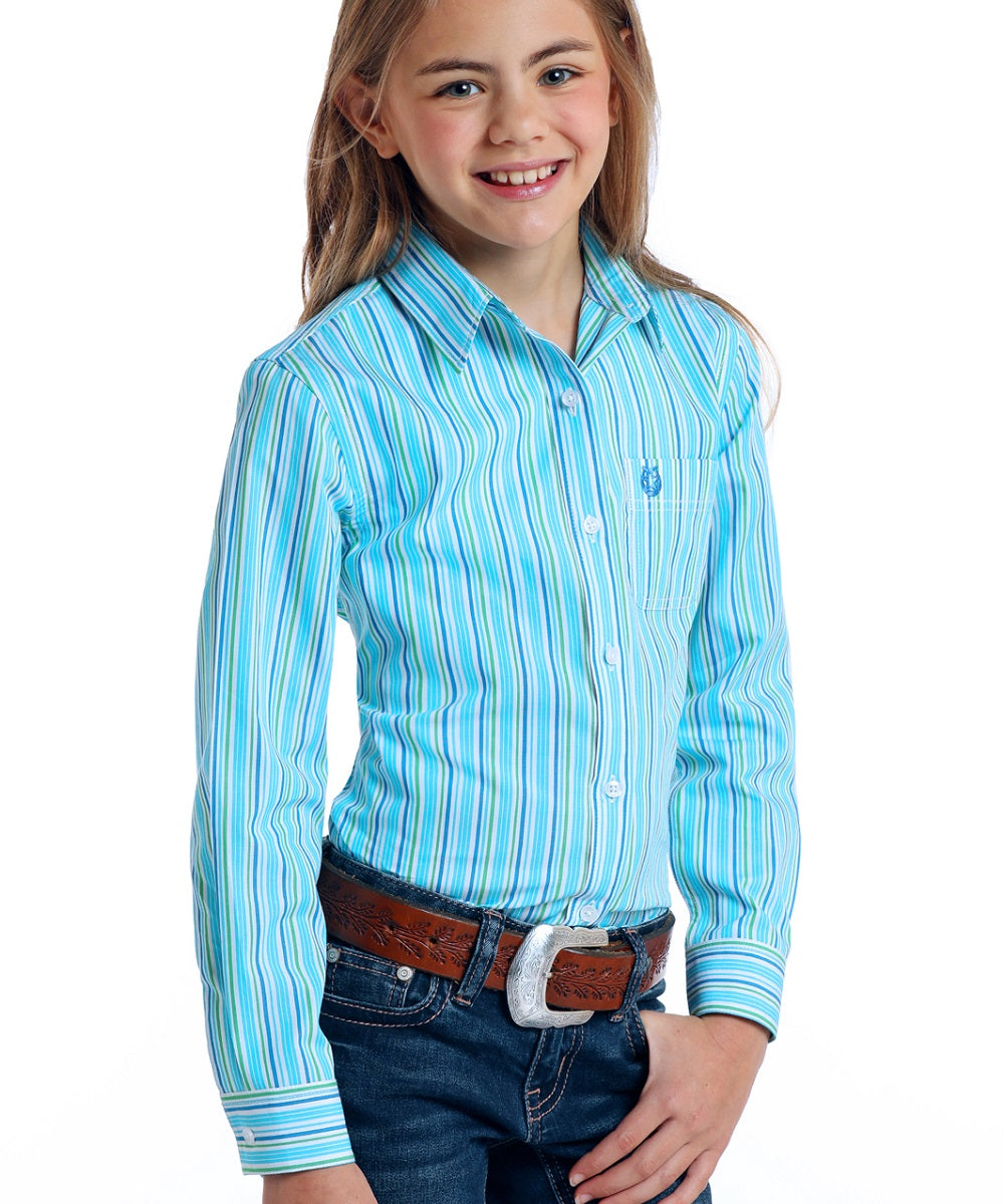 Panhandle Girls' Rough Stock Striped Button Down Shirt- Style #R6B5775