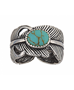 MONTANA SILVERSMITHS WOMEN'S ANTIQUED SILVER PLUME AND TURQUOISE RING- STYLE #RG95