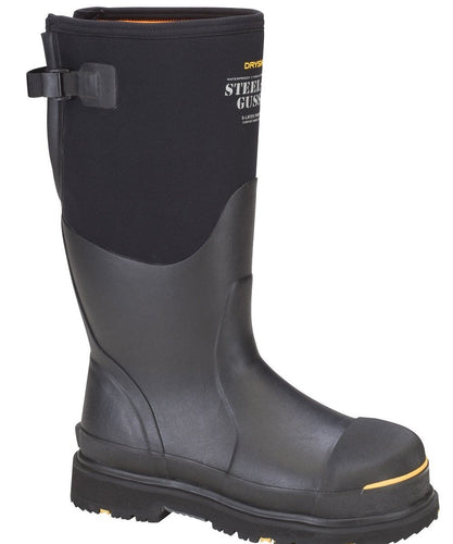 Dryshod Steel Toe Adjustable Gusset Work Boot- Style #Stg-Uh-Bk-Black/Yellow