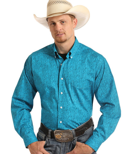 PANHANDLE MEN'S LONG SLEEVE BUTTON PAISLEY PRINT SHIRT - STYLE #TCD6315