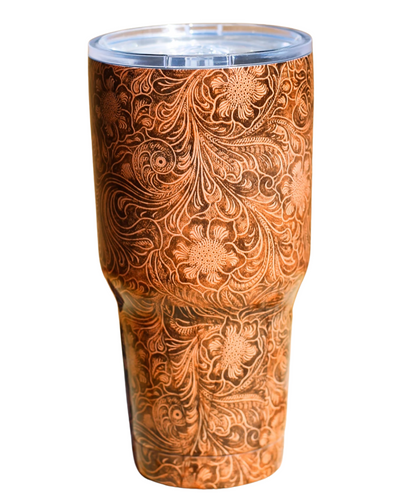 Ranch Dress'n RD Tooled Cuero Tumbler- Estilo #TOOLEDLEATHERTUMBLER