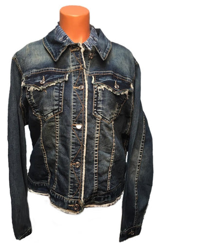 Grace In La Women's Frayed Jean Jacket- Style #TE-61252A