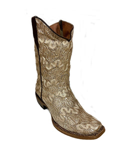 Tanner Mark Girls' Bailey Shimmer Beige Boot- Style #TMG38000