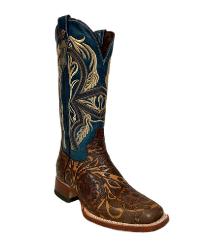 Tanner Mark Women's Had Tooled Square Toe Boot- Style #TML207088