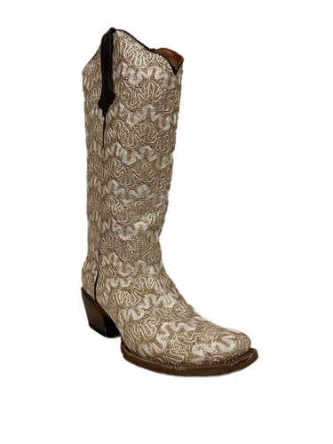 Tanner Mark Women's Cream Lace Silver Glitter Leather Boot- Style #TML380