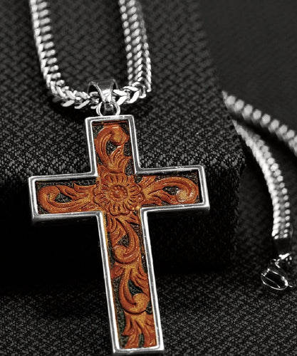 M&F WESTERN TWISTER INLAY CROSS NECKLACE- STYLE #32104