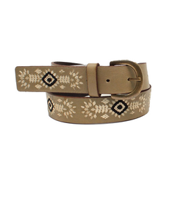 M&F Western Women's Nocona Diamond Embroidered Light Brown Belt- Style #N320001937