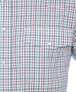 Wrangler Men's Western Red And Blue Plaid Snap Shirt- Style #MWR301M