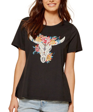 Cowpokes Bootique Women's Black Knit Graphic Top With A Bullhead- Style #18070