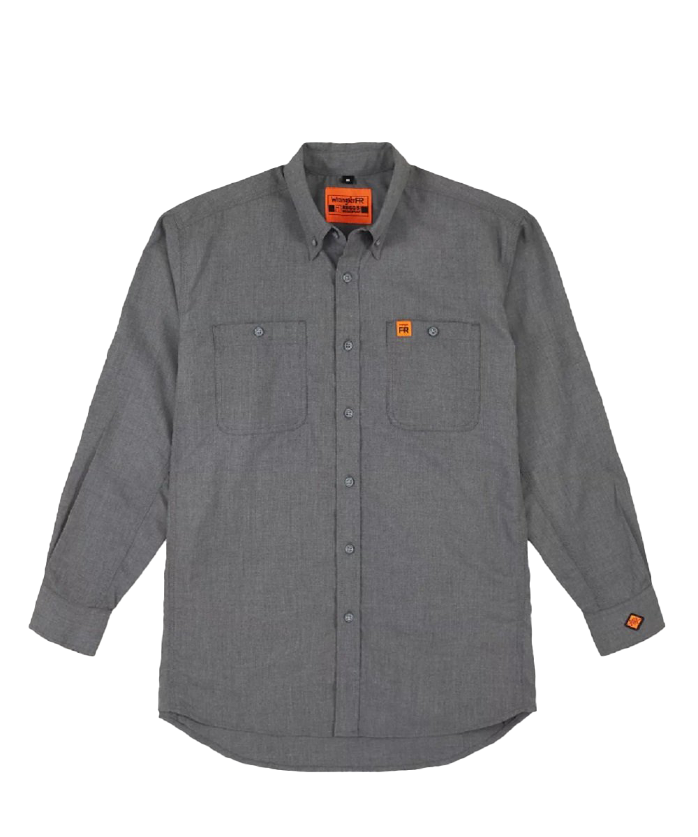 Wrangler Men's Riggs Workwear Gray Flame Resistant Twill Work Shirt- Style #FR3W01G