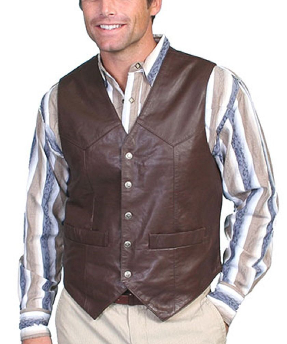 Scully Men's Brown Lambskin Leather Snap Front Vest- Style #507 143