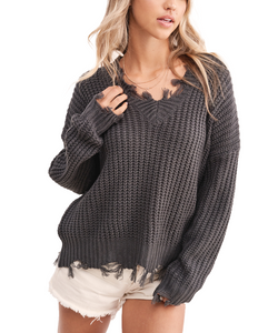 Cowpokes Bootique Women's Carbon Avery Distressed Sweater- Style #LMT3540-CB