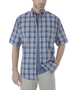 WRANGLER MEN'S RUGGED WEAR BLUE RIDGE PLAID BUTTON DOWN SHIRT- STYLE #RWS94BL