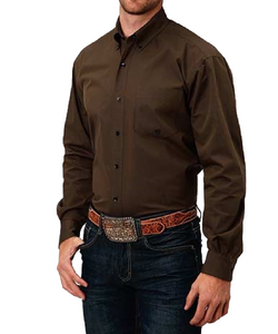 Roper Men's Solid Brown Button Down Shirt- Style #03-01-366-730BR