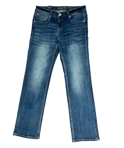 Grace In LA Women's Plus Size Simple Stitch Straight Leg Jean- Style #PS81565