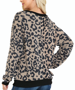 Cowpokes Bootique Women's Leopard Print Love Sleeve Top- Style #AT27908A
