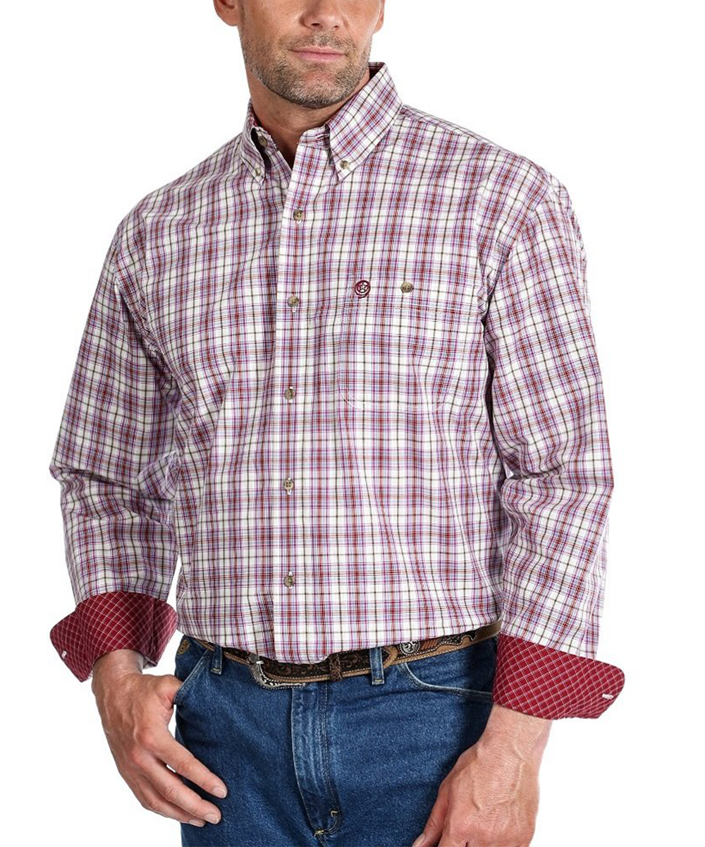 Wrangler Men's George Strait Button Down Shirt- Style #MGSR682-BURGUNDY/BLUE