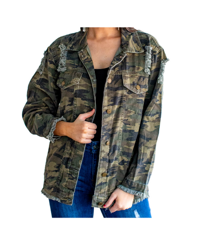 Lucky & Blessed Apparel Women's Camo Denim Jacket- Style #MH0097-CAMO