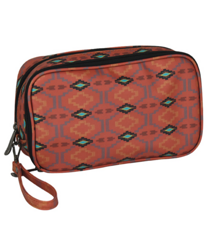 Trenditions LLC Justin Double Cosmetic Bag Adobe Aztec- Style #2093688ORG