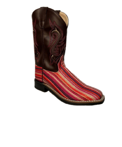 Old West Girls' Pink Serape Glitter Striped Boot- Style #VB9146