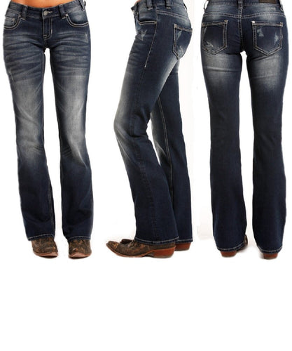 Rock & Roll Cowgirl Women's Low Rise Boot Cut Jean- Style # W0-3381