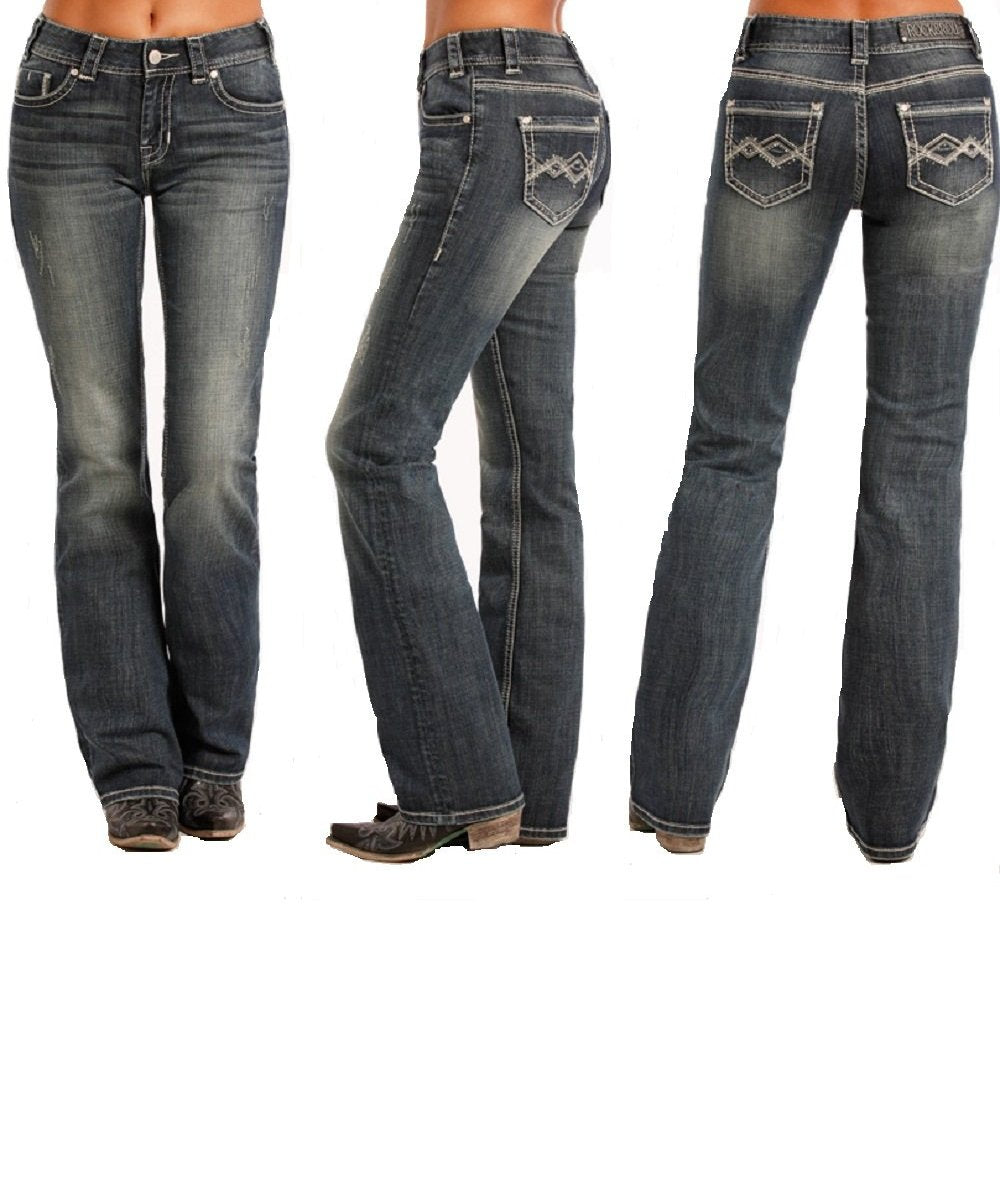 556a4398009 PANHANDLE WOMEN S ROCK   ROLL COWGIRL JUNIORS MID RISE BOOT CUT JEAN- STYLE    ...