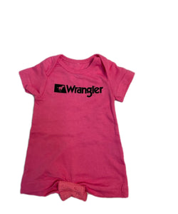 Farm Girl Infant Wrangler Faux Pockets Pink Onesie- Style #W44868429