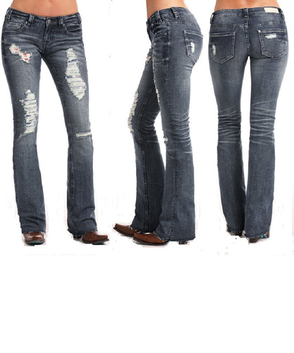 PANHANDLE WOMEN'S ROCK & ROLL COWGIRL JUNIORS AMERICANA RIVAL BOOT CUT JEAN- STYLE #W6-6677