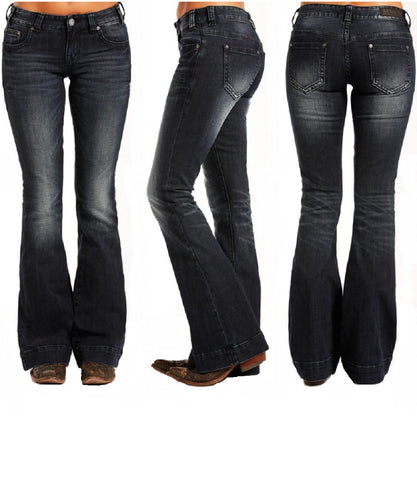 Rock & Roll Cowgirl Women's Dark Vintage Wash Trouser- Style #W8-3405