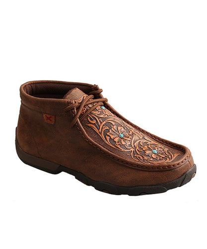 Twisted X Women's Tooled Flower Driving Moc - Style #Wdm0081