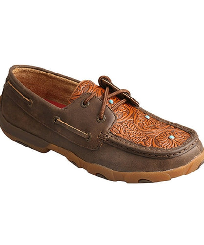 Twisted X Women's Brown Tooled Flower Driving Moc- Style #Wdm0092