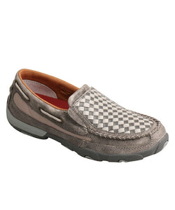 TWISTED X WOMEN'S GREY BASKET WEAVE DRIVING MOC- STYLE #WDMS014