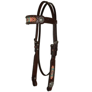 "REINSMAN 5/8"" HEADSTALL WITH BEAD INLAY- STYLE # X0116-T001"