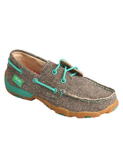 TWISTED X KIDS' DRIVING MOC BOAT SHOE- STYLE #YDM0040-TURQUOISE
