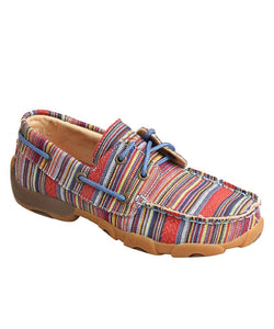 TWISTED X KIDS' MULTI STRIPE DRIVING MOC BOAT SHOE- STYLE #YDM0041- MULTI STRIPE
