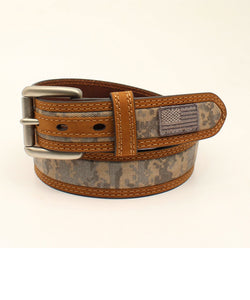 M&F Western Men's Ariat Digital Camo USA Flag Belt- Style #A1035028-GREEN CAMO