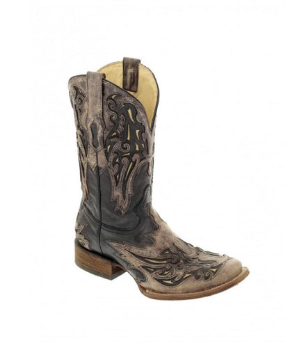CORRAL MEN'S BROWN AND BONE INLAY SQUARE TOE WESTERN BOOT- STYLE #A2828