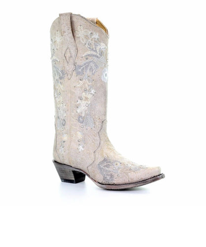 Corral Women's White Floral Embroidered Crystal Boot- Style #A3521