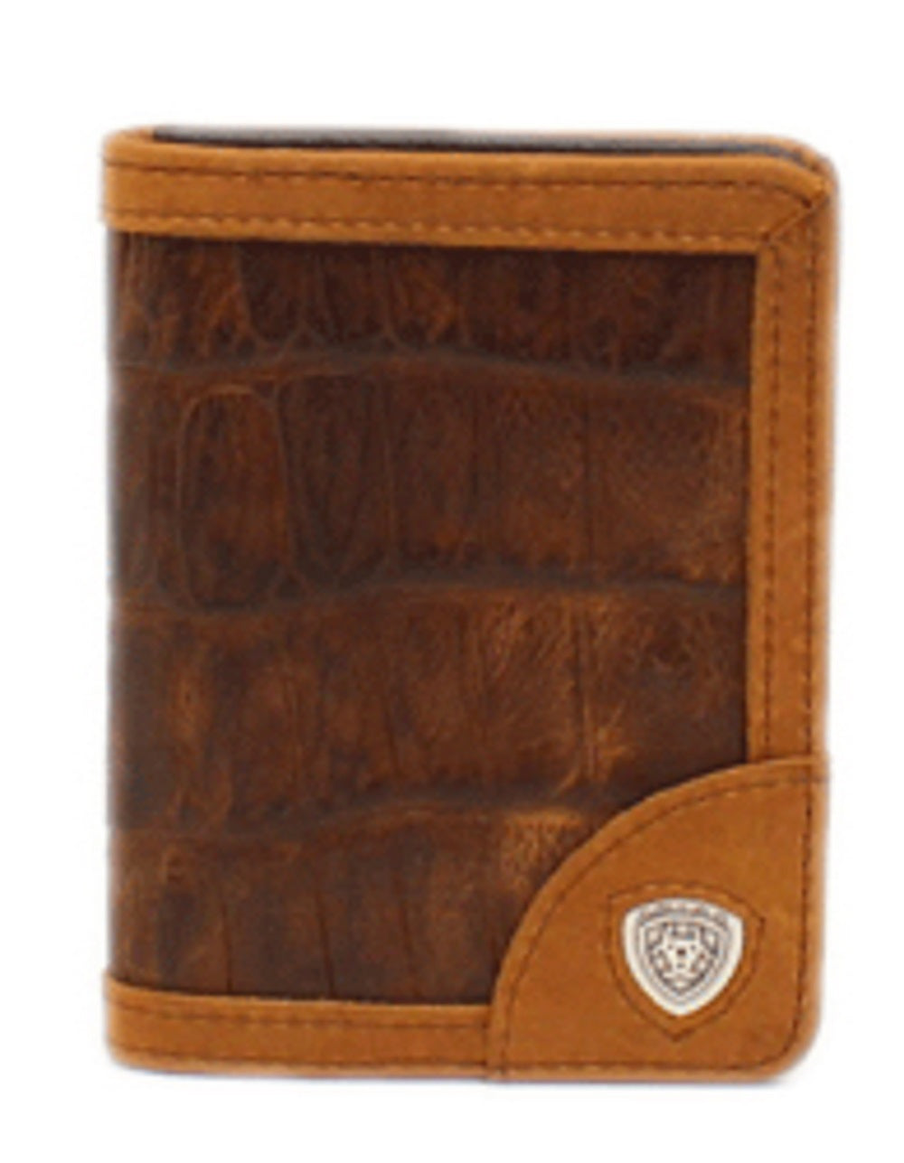 M&F WESTERN MEN'S ARIAT BIFOLD CROCODILE PRINT WALLET - STYLE #A3525802 - BROWN