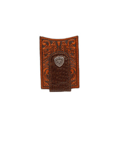 M&F Western Men's Ariat Card Case Money Clip Wallet- Style #A3542502