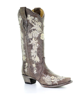 Corral Women's Flower Embroidery Snip Toe Boot- Style #A3572
