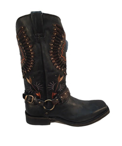 CORRAL MEN'S BLACK HARNESS BIKER BOOT- STYLE #A3614