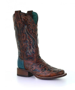 Corral Women's Rodeo Collection Laser Cut Square Toe Boot- Style #A3813