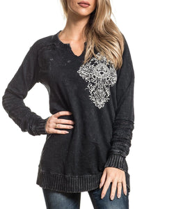 Affliction Women's Precious Metal Fleece Pullover- Style #AW21257