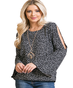 Cowpokes Bootique Women's Black Open Bell Sleeve Top- Style #AT27833A