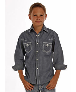 PANHANDLE SLIM BOYS' ROCK AND ROLL COWBOY CHAMBRAY DOBBY SOLID SNAP SHIRT- STYLE #B8S1268