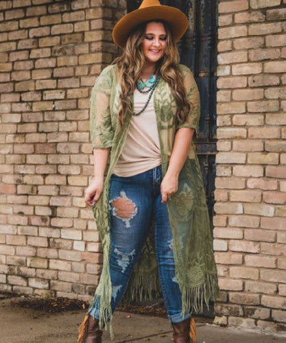 Lucky & Blessed Women's Sage Lace Kimono- Style #BASIC-32-S