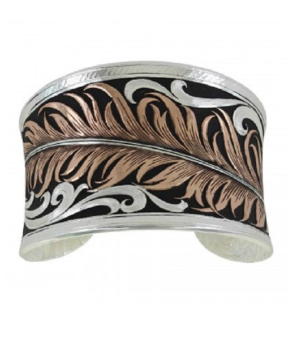 MONTANA SILVERSMITHS WOMEN'S WIDE SILVER FEATHER CUFF - STYLE #BC3914RG