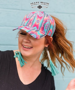 Crazy Train Women's Brim Pickins Aztec Print Cap- Style #BRIMPICKINSCAP