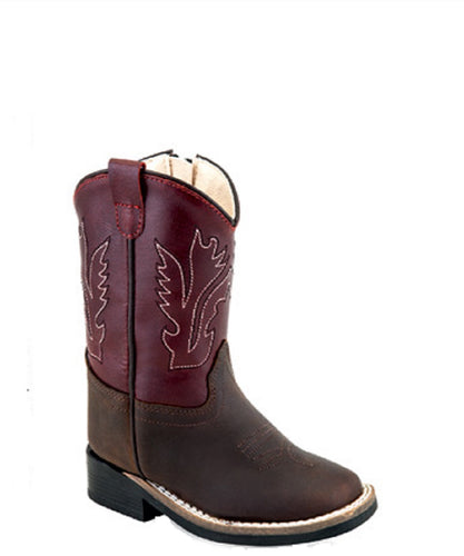 Old West Toddler Leather Broad Square Toe Boot- Style #BSC1889